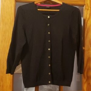 Talbots Petite Navy cardigan button sweater medium